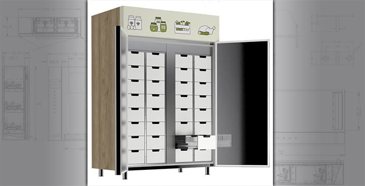 Grocery Fridge with Lockable Compartments
